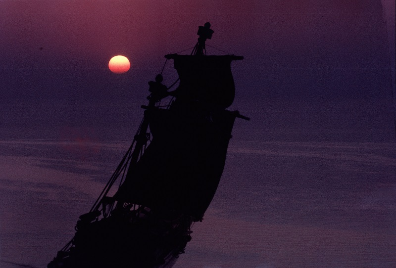 Fully-rigged ship sails into the sunset. Used as cover illustration for 'The Travels of Captain Cook'. Culture: Polynesia. Place of Origin: Pacific Ocean. Credit Line: Werner Forman Archive/ Location: 09.