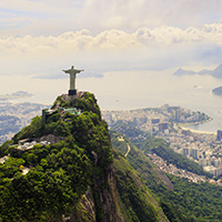 View of the Christ statue, Sugar Loaf and Guanabara Bay. Rio de Janeiro, Brazil, South America