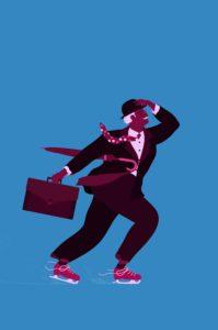 City gent businessman struggling in ice skates ©Alice Mollon/Ikon Images