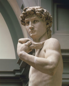 David, 1501-1504, by Michelangelo Buonarroti. (Detail). Florence, Galleria dell'Accademia.
