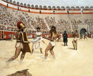 "Gladiator fight in the amphitheatre of Pompeii between a ""Secutor"" and a ""Retiarius"". Watercolour by Peter Connolly. AKG297680 - Peter Connolly /"