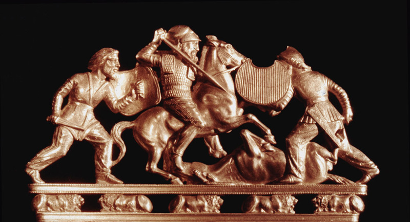 A comb ornamented with a group of Scyths in combat. Country of Origin: Russia Culture: Scythian Period: 6th - 4th C BC Place of Origin: Solokha, South Russia Material and Size: Gold Credit: Werner Forman Archive/ Hermitage Museum, St. Petersburgh