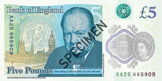 Specimen £5 featuring portrait of Winston Churchill