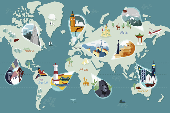 Tourist attractions on world map