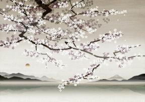 Blossoms in Asian landscape ©Nick Purser / Ikon Images