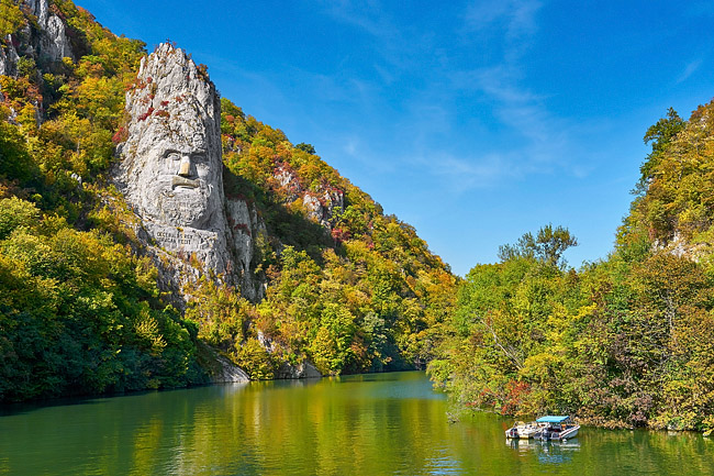Romania, Mehedinti County, Orsova, Iron Gates Natural Park, The Statue of King Decebal carved in the mountain