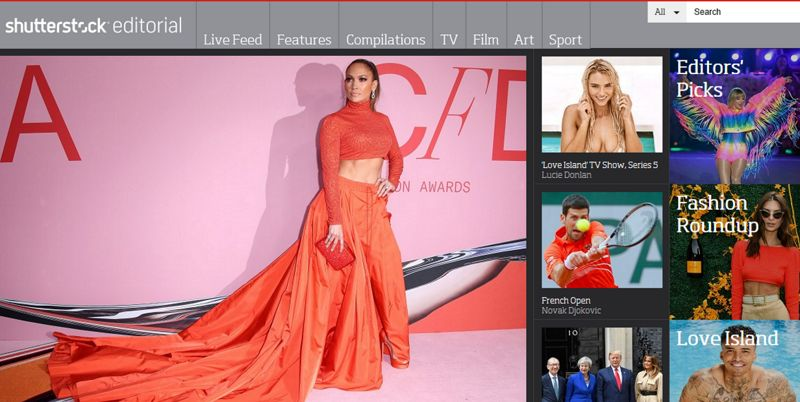 screenshot of shutterstock editorial homepage