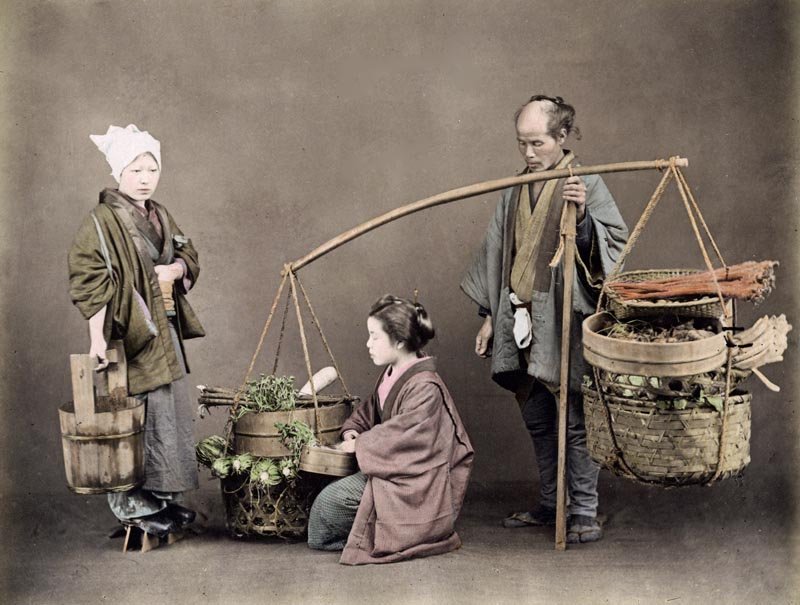 Vegetable seller, Japan, circa 1890.     Date: circa 1890
