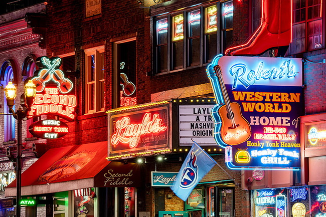 United States, Tennessee, Nashville, Neon Signs on Broadway, Nashville, Tennessee, USA