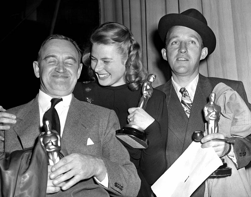 1944: BARRY FITZGERALD [Best Supporting Actor, GOING MY WAY], INGRID BERGMAN [Best Actress, GASLIGHT], BING CROSBY [Best Actor, GOING MY WAY], Grauman's Chinese Theater, 3/16/45 Date: