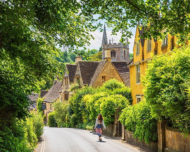 United Kingdom, England, Wiltshire, Castle Combe, Great Britain, Cotswolds, British Isles, Streets of the medieval village