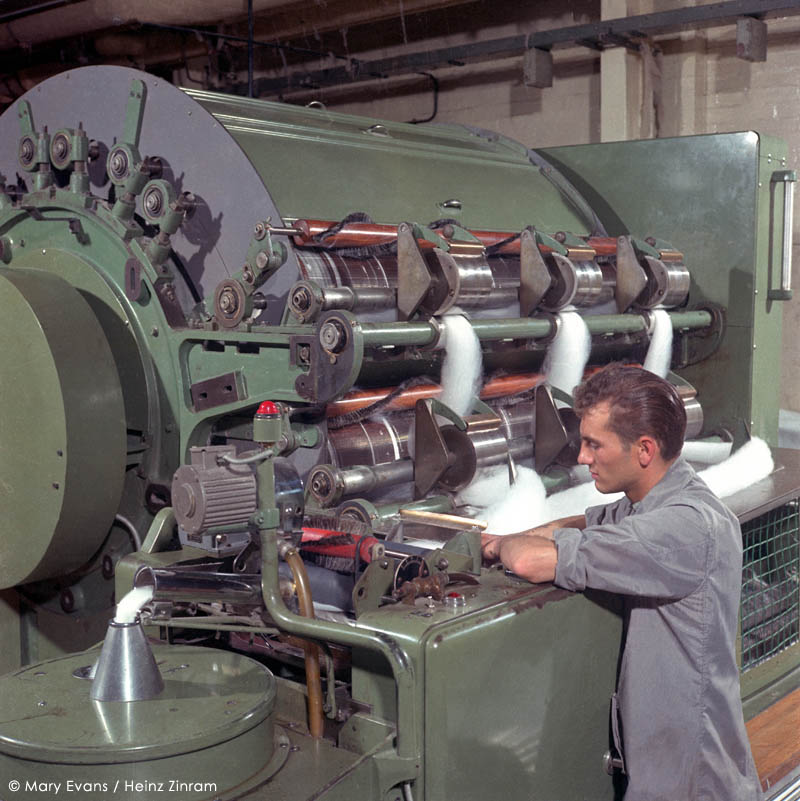 Wool Processing at Patons & Baldwins Factory, Darlington. Photograph by Heinz Zinram     Date: early 1960s