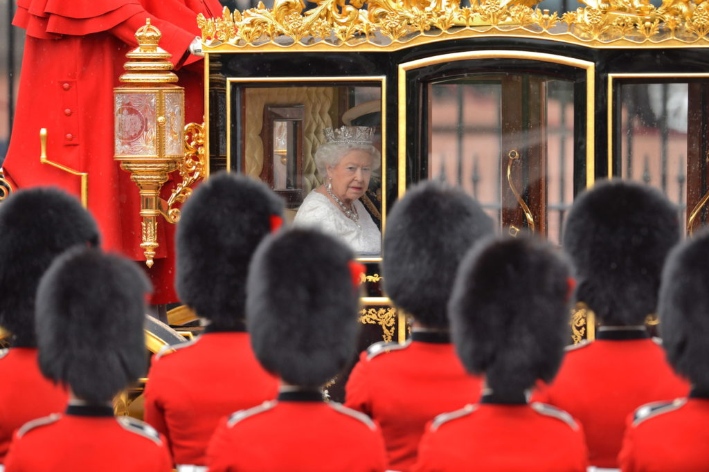 Queen Elizabeth II leaves Buckingham Palace, London, ahead of the State Opening of Parliament.
