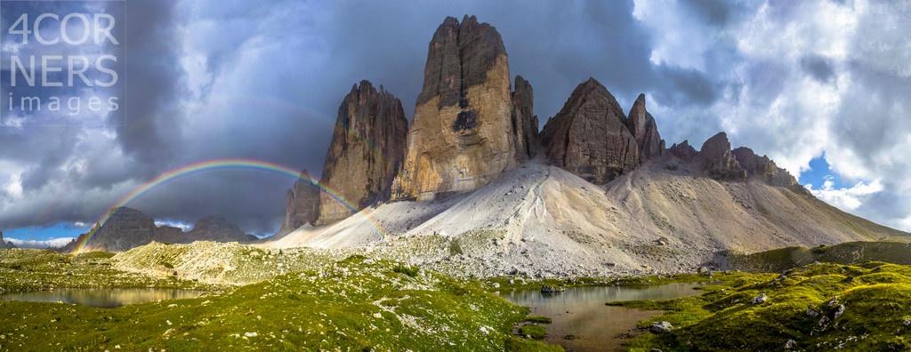 Italy, Trentino-Alto Adige, Alto Adige, Südtirol, Dolomites, Bolzano district, Alta Pusteria, Dolomiti di Sesto Natural Park, Double Rainbow at Tre Cime di Lavaredo (Drei Zinnen) over two lakes