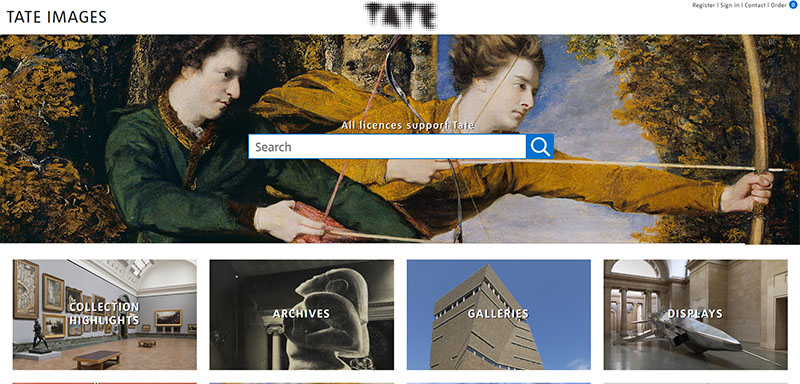 Screenshot of Tate Images Homepage