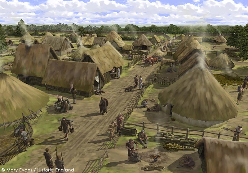 Silchester Roman City Walls, Hampshire. The Iron Age town at Silchester, seen from the north looking towards the southern entrance. Reconstruction drawing by Peter Urmston.