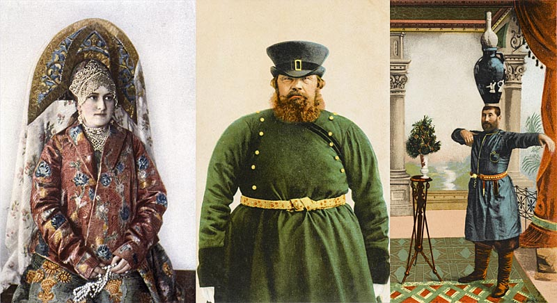 Collage of old postcards from Russia