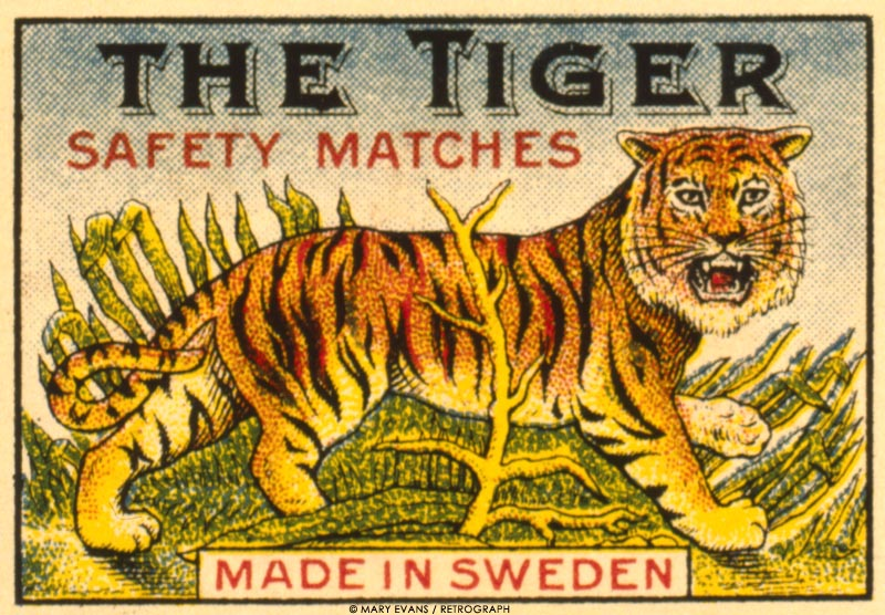 Label design, The Tiger safety matches, made in Sweden. circa 1900