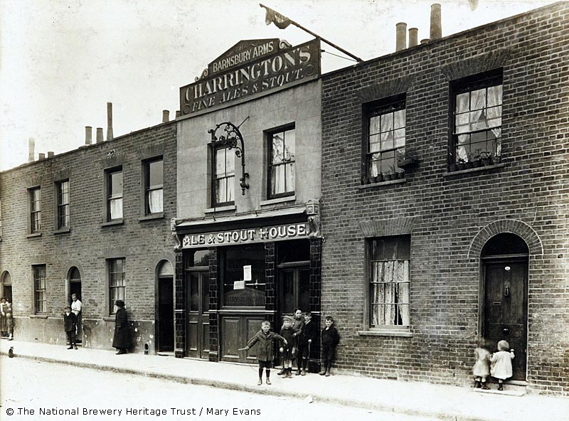 Photograph of Barnsbury Arms, Barnsbury, London. The main side of the print (shown here) depicts: Right face on view of the pub.  The back of the print (available on request) details: Trading Record 1913 . 1931 for the Barnsbury Arms, Barnsbury, London N1 1ET. As of July 2018 . Demolished