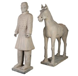 Replica model of a Terracotta warrior showing a horseback archer, dismounted but accompanied by his horse. Gifted by the Chinese Embassy.