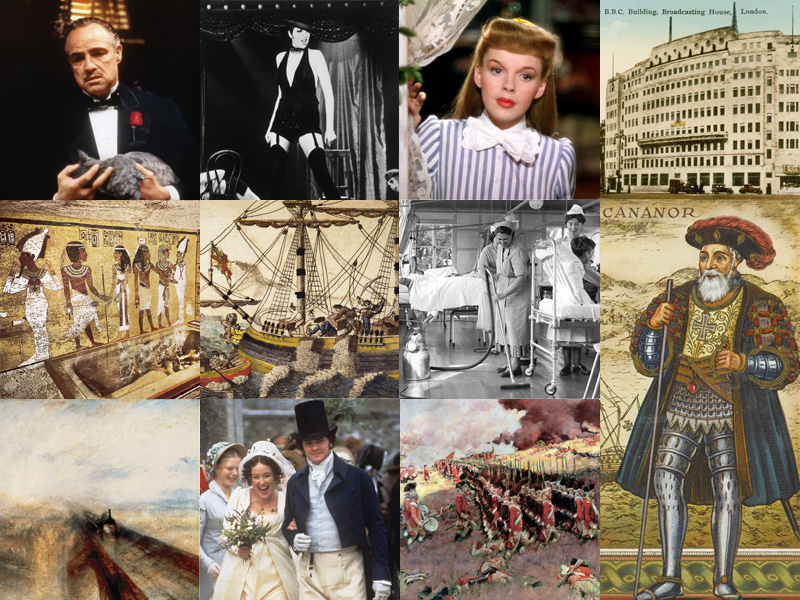 Collage of images relating to historical anniversaries
