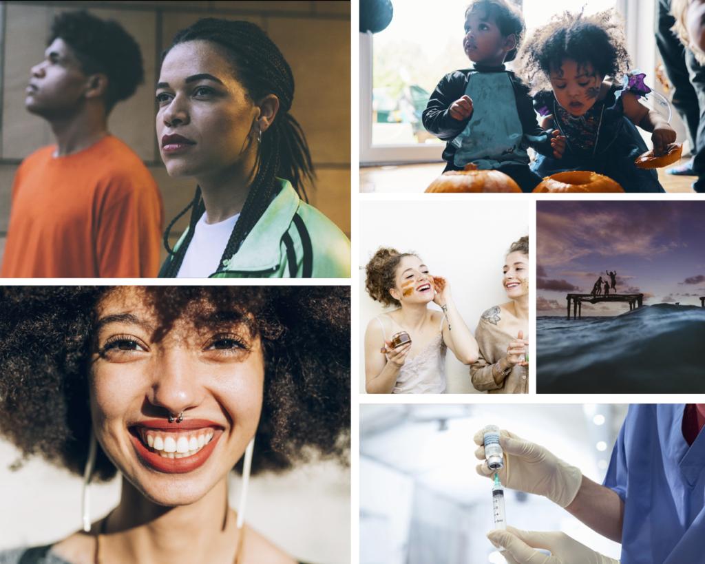 Collage of lifestyle stock photos