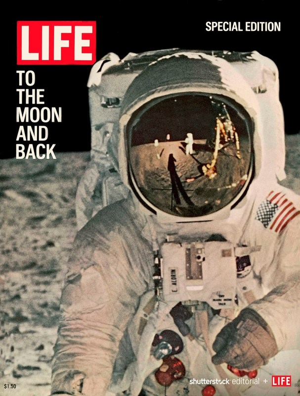 """LIFE cover special issue (08-11-1969) entitled """"To the Moon and Back"""" with photo of reflections on astronaut's face mask. Photo credit: NASA/The LIFE Picture Collection/Shutterstock."""