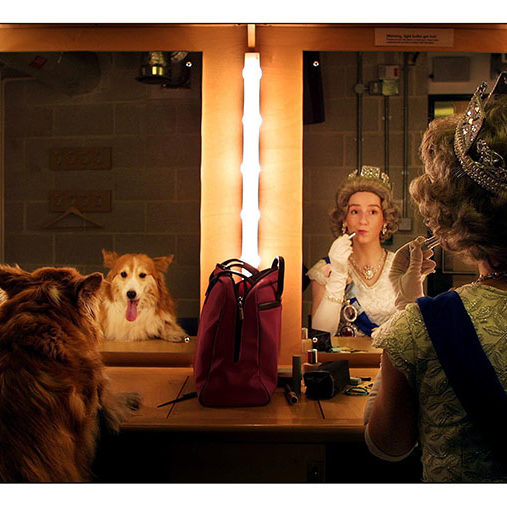 2FKT19W Auditions were held today at Sadlers Wells Theatre for a corgi to play the part of the Queens corgi in an important scene in Roald Dahls The BFG when the BFG has breakfast at Buckingham Palace. The quieen is Nnicola Ann James and the corgi is Molly one of seven auditioning.pic David Sandison 9/1/02