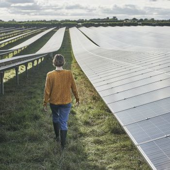 Young female farmer walking through solar farm ©Mike Harrington / Getty Images
