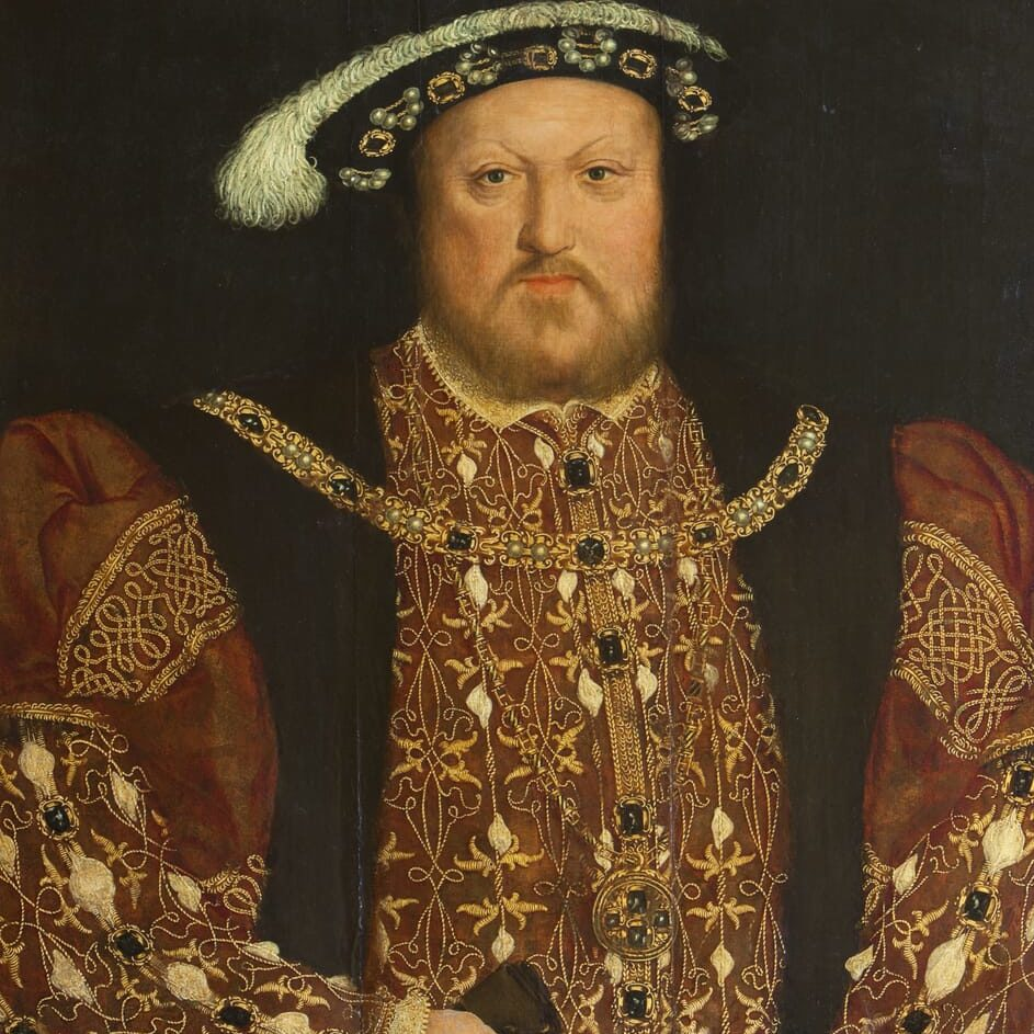Oil painting on panel, King Henry VIII (1491-1547), after Hans Holbein the younger (Augsburg 1497/8 - London 1543), 16th century. A half-length portrait in richly embroidered brown coat, jewelled and feathered black cap, jewelled gold neck chain of H design and jewelled medallion. Holding leather gloves in his right hand, ring on index finger. Frame has gilt label 'Henry VIII, Holbein'. Picture light attached to back of frame. One of several copies of a lost original. From Newbattle Abbey.